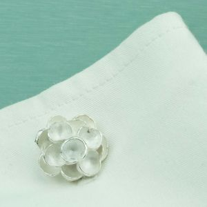 Flower Sterling Silver Cufflinks - cufflinks