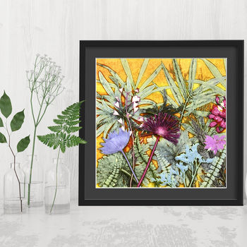 Tropical Sunshine, Exotic Botanical Square Art Print