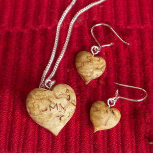 Personalised Heart Wood And Silver Jewellery