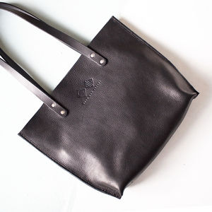 Hand Stitched Luxury Black Leather Tote Bag - womens