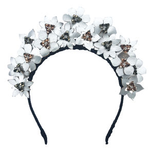 Metallic Crystal And Leather Flower Headdress