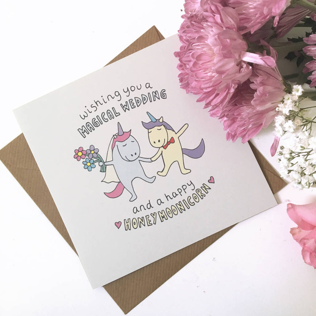 unicorn wedding card by ladykerry illustrated gifts