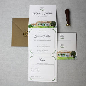 Wedding Venue Illustration Invitation Suite - invitations