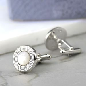 Silver And Mother Of Pearl Cufflinks - men's accessories