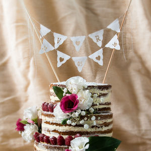 Wedding Cake Bunting Initials And Date Personalised - table decorations