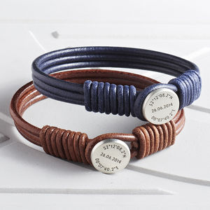 Silver And Leather Coordinate And Date Bracelet - bracelets