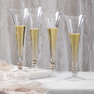 Monogrammed L.S.A. Set Of Four Prosecco Flutes