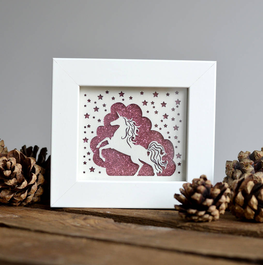 Framed Little Miniature Unicorn Paper Cut Print