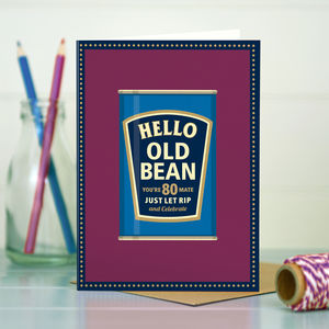 80th Birthday '80th Bean' - birthday cards