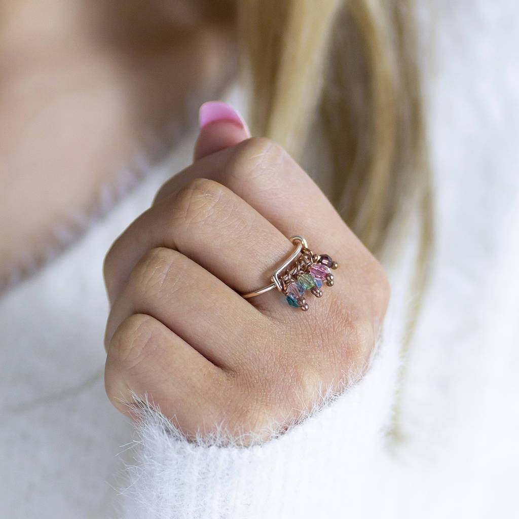 Family Birthstone Charm Ring