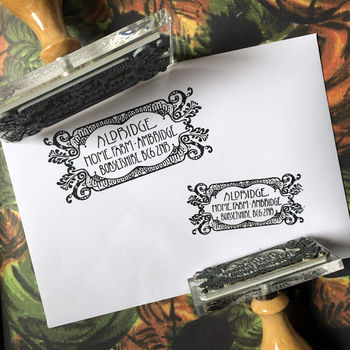 Personalised Filigree Landscape Address Stamp