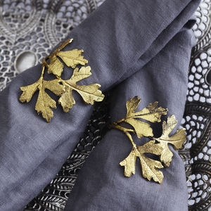 Set Of Four Gold Leaf Napkin Rings - kitchen