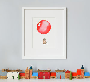 Personalised Red Balloon Nursery Print
