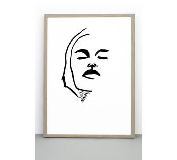 Print Portrait #Two, Face Poster, Line Drawing Wall Art