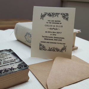 Personalised Wedding Invitation Stamp Lace Design - ribbon & wrap