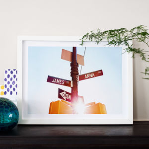 Personalised Couples Names American Street Sign Print - personalised wedding gifts