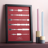 Metallic Personalised Favourite Song Sound Wave Print - valentine's day