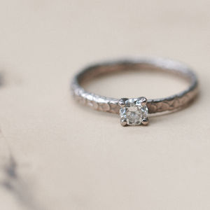 Fish Scale Pattern Diamond Solitaire Engagement Ring - engagement rings