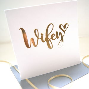 Wifey Luxe Gold Paper Cut Card