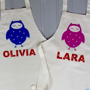 Personalised Owl Apron Set For Adult And Child