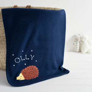 Hedgehog Personalised Baby Blanket