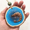 Hand Painted Sea Wood Slice With Copper Shrimp