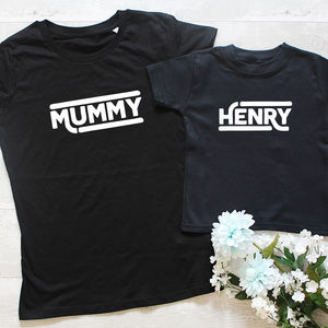 Personalised Retro Mother's Day T Shirt Set - mother & child sets