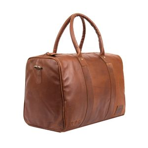 Personalised Leather Cortes Compact Weekender Holdall