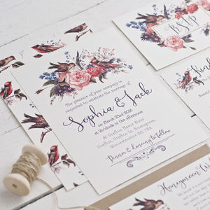 Eleanor Birds And Blooms Wedding Invitation