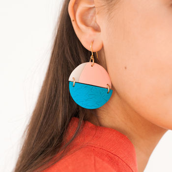 Teal And Salmon Circle Earrings