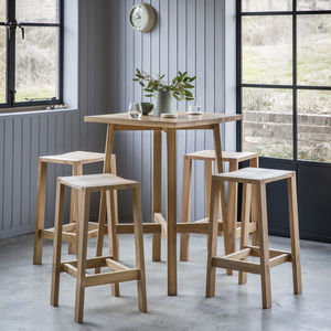 Oak High Table And Bar Stools Set