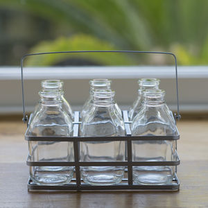 Set Of Six Vintage Style Mini Milk Bottles In A Crate - flowers, plants & vases