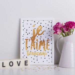 Personalised 'Je T'aime' Spotty Gold Print