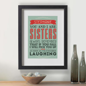 Personalised Love My Sister Print