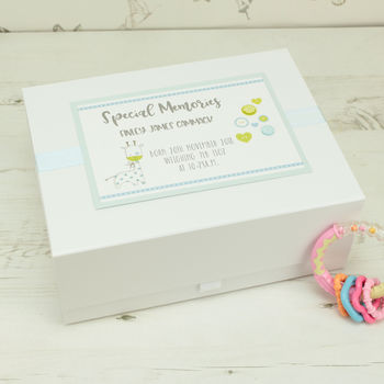 New Baby Personalised Buttons Keepsake Box