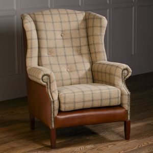 Buttoned Wing Chair Vintage Leather Or Tweed - furniture
