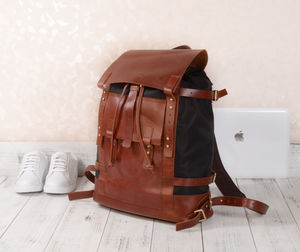 Leather And Nylon Backpack Personalised - men's accessories
