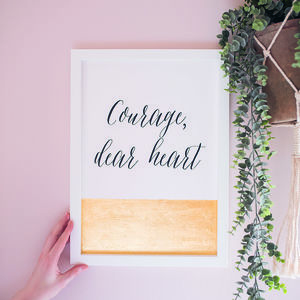 Metallic Leaf 'Courage' Print - gifts for her