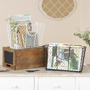 Industrial Style Mesh Magazine Baskets