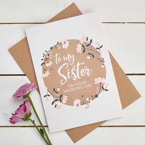 Sister Wedding Day Card - wedding cards & wrap