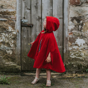 Red Velvet Hooded Cape - pretend play & dressing up