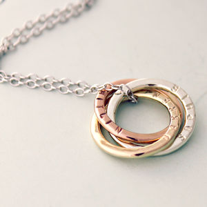 Personalised 9ct Mixed Gold Russian Ring Necklace - for her
