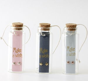 Wishing Stars Earrings In A Message Bottle - earrings