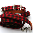 Red Check Collar With Matching Lead