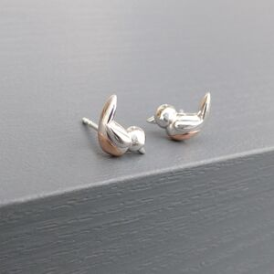 Silver And Rose Gold Robin Red Breast Stud Earrings