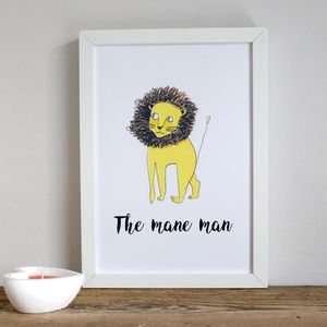 'Mane Man' Lion Illustrated Children's Print - shop by subject