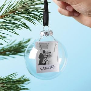Polaroid Mr And Mrs Personalised Christmas Bauble - table decorations