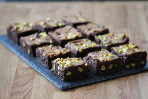 Lime And Pistachio Chocolate Brownies