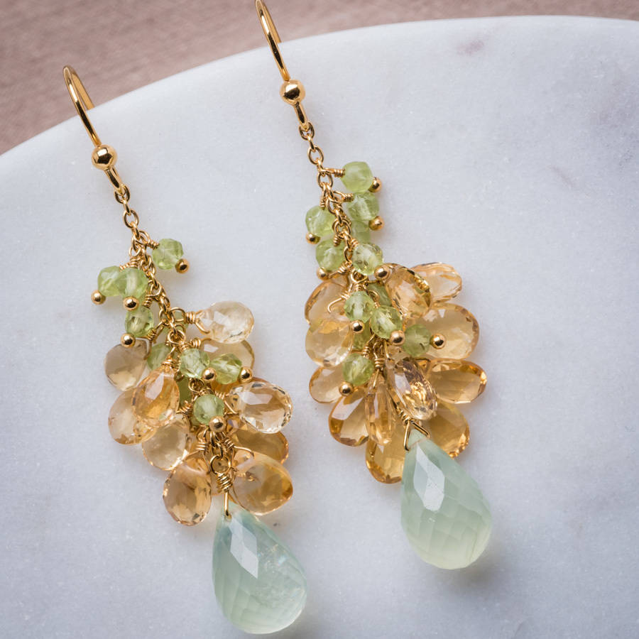 18ct Yellow Gold Prehnite Peridot And Citrine Drop Earrings