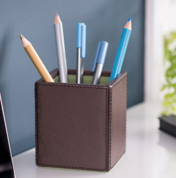 Personalised Leather Pen Pot Brown